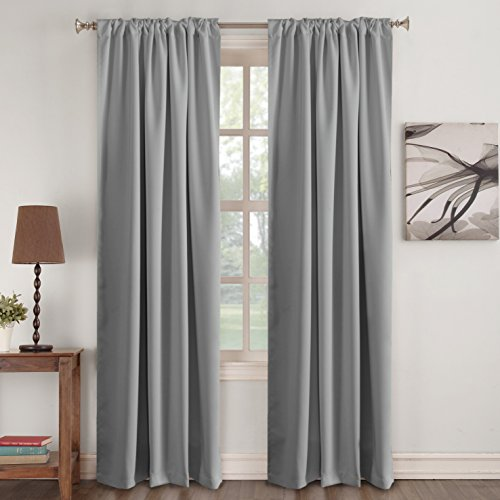 Gray Blackout Curtains 84 Inch Long Window Treatments Blinds Thermal Insulated Drapes Rod Pocket ...