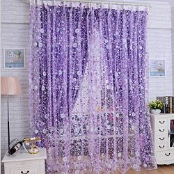 DDLBiz Print Floral Voile Door Sheer Window Curtains Room Curtain Divider(39.37