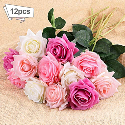 DIGIROOT Artificial Flowers 12pcs Real Touch Silk Fake Flower Roses with 4 Colors for DIY Home,  ...