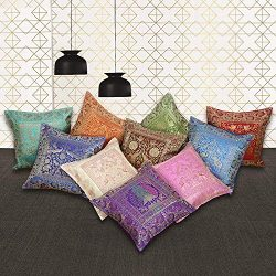 Icrafty 10 Pcs Cushion Covers Set Hand borcase Silk Home Decorative Cushion Covers
