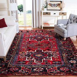 Safavieh Vintage Hamadan Collection VTH211A Antiqued Oriental Red and Multi Area Rug (5'3& ...