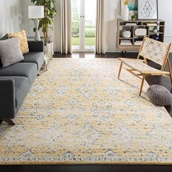 Safavieh Evoke Collection EVK224B Contemporary Bohemian Gold and Ivory Area Rug (10′ x 14& ...