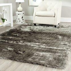 Safavieh Paris Shag Collection SG511-7575 Silver Polyester Area Rug (5′ x 8′)