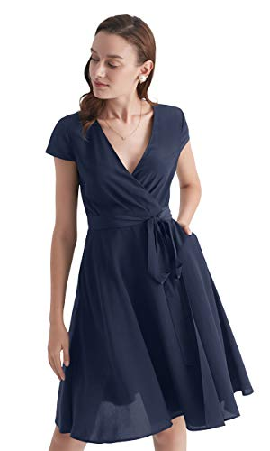 LilySilk Silk Wrap Dress for Women V Neck with Belt Pockets Figure Flattering Tunic Ladies (Navy ...