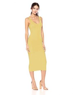 Enza Costa Women's Stretch Silk Rib Tank Midi Dress, Lemongrass, S