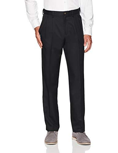 Amazon Essentials Men's Expandable Waist Classic-Fit Pleated Dress Pants, Black, 29W x 34L