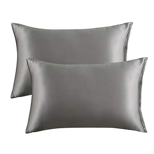 Bedsure Satin Pillowcase for Hair and Skin, 2-Pack – Standard Size (20×26 inches) Pil ...