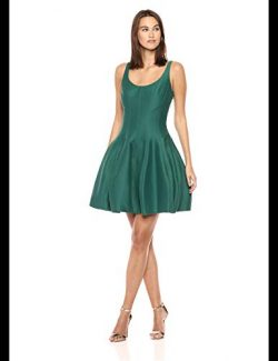 Halston Heritage Women's Silk Faille Tulip Dress, Evergreen, 4