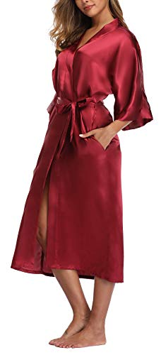 Womens Pure Color Long Satin Bathrobe Kimono Nightgown Long Dress Gown Burgundy