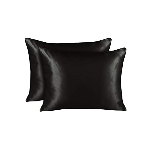 Shop Bedding Luxury Satin Pillowcase for Hair – Standard Satin Pillowcase with Zipper, Bla ...