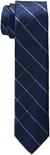 Calvin Klein Men's Waffle Windowpane Slim Tie, Navy, One Size