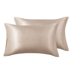 Love's cabin Silk Satin Pillowcase for Hair and Skin (Camel Taupe, 20×26 inches) Slip ...