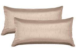 Aiking Home 12×24 Inches Faux Silk Rectangular Throw Pillow Cover, Zipper Closure, Sand (Se ...