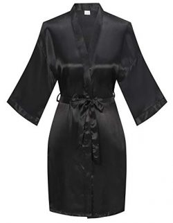 Women's Pure Color Satin Kimono Robe Short Bridesmaids Robe Dressing Gown, Black, L/XL