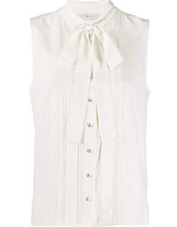 Tory Burch Womens 100% Silk Ivory Bow Tie Sleeveless Blouse Top