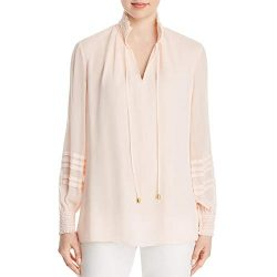 Tory Burch Womens Haley Smocked Sheer Blouse