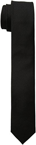 Calvin Klein Men's Oxford Solid Tie, Black, Skinny