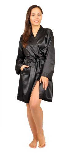 Up2date Fashion Satin Robe, Five Color Choices, Sizes (S, M, L, XL, 2X), Style#Gwn11 (Large, Black)