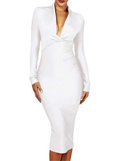 UONBOX Women's Deep Plunge V Neck Long Sleeves Draped Knee Length Bodycon Bandage Dress (X ...