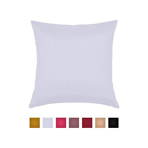 Essencea Decorative Throw Pillow Cover – Solid Faux Silk European Shams Pillowcase with Hi ...