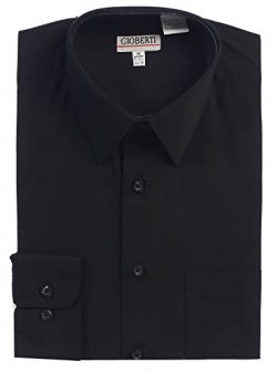 Gioberti Men's Long Sleeve Solid Dress Shirt, Black, 2X Large, Sleeve 35-36