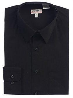 Gioberti Men's Long Sleeve Solid Dress Shirt, Black, 2X Large, Sleeve 35-36