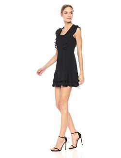 Parker Women's Berlin Short Sleeve Ruffle Silk Mini Dress, Black, 2