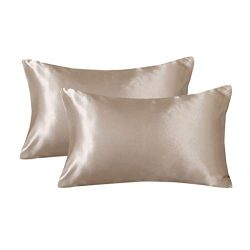LANNOMO Satin Pillowcase for Hair and Skin with Envelope Closure | a Set of 2 Pack | Cool Smooth ...