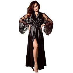 Women's Satin Robes Pure Color Long Kimono Bathrobes Soft Nightgown with Lace Sleeve (XL,  ...