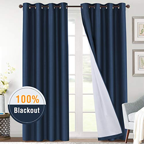 H.VERSAILTEX 100% Blackout Thermal Insulated Light Blocking Curtains 96 Long, Faux Silk Heavy Du ...