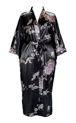 Plus Size Woman's Kimono Long Robe – Crane and Peony (US Sizes 1X/2X & 3X/4X) (3 ...