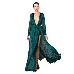 Miss ord Women's Deep V Long Sleeve Slim Split Maxi Dress with Belt Medium Green