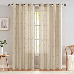 jinchan Faux Silk Flur De Lis Embroidered Sheer Curtains for Bedroom Embroidery Curtain for Livi ...