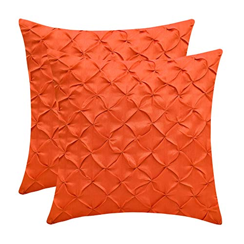 The White Petals Orange Decorative Pillow Covers (Faux Silk, Pinch Pleat, 12×12 inch, Pack  ...