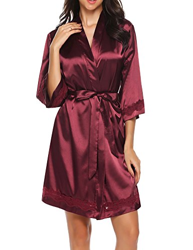 Ekouaer Kimono-Style Neckline 3/4 Sleeve Lace-Trim Short Satin Robe Sleepwear(Wine Red/L)