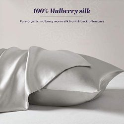 The Pure Silk Pillowcase for Hair and Skin – 100% Organic Mulberry Silk Pillow Case with H ...