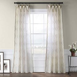 HPD Half Price Drapes SHCH-SLWE5294-84 Embroidered Faux Linen Sheer Curtain, 50 X 84, Suez Natural