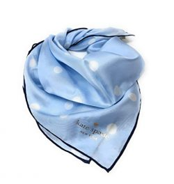 Kate Spade New York 100% Silk Love Polka Dot Bandana Scarf Light Blue