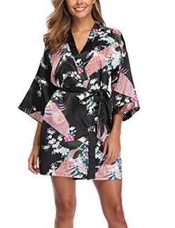 Sueshop Women's Floral Satin Robe Short Silk Bridal Robe Printing Peacock Kimono Sleepwear ...