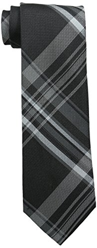 Calvin Klein Men's Plaid Tie, Black, Regular
