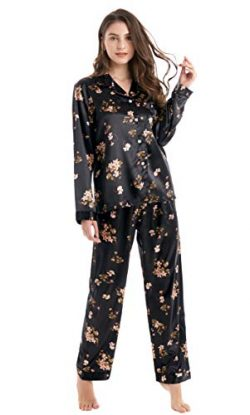 Tony & Candice Women's Classic Satin Pajama Set Sleepwear Loungewear (Black with Flowe ...