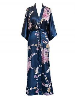 Old Shanghai Women's Kimono Long Robe – Chrysanthemum & Crane – Navy