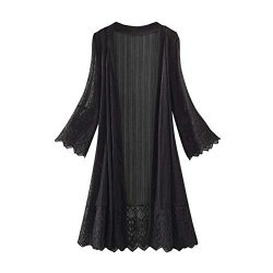 HIRIRI Women's Long WaterfallCardigan Open Front Drape Lightweight Long Sleeve Flare Lace  ...