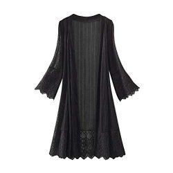 HIRIRI Women's Long WaterfallCardigan Open Front Drape Lightweight Long Sleeve Flare Lace  ...
