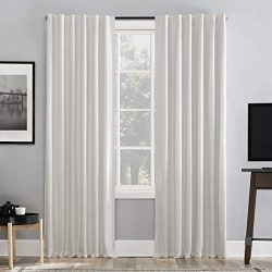 Sun Zero Greyson Faux Dupioni Silk Extreme 100% Blackout Back Tab Curtain Panel, 50″ x 95& ...