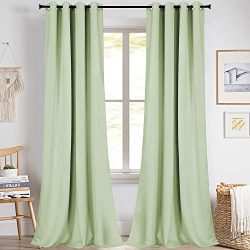 KEQIAOSUOCAI Boys Curtains Mint Green 95 Inch Solid Grommet Top Window Treatment Drapes for Bedr ...