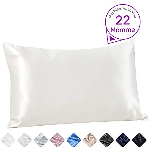 Sleep Mantra Silk-Pillowcase for Hair and Skin – Queen-Size 20 x 30 Inch Natural White Was ...