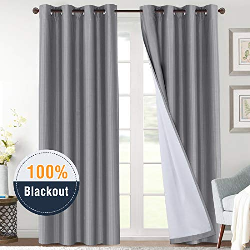 H.VERSAILTEX 100% Blackout Curtains 108 Inches Long for Nursery, Faux Silk Thermal Insulated Gre ...