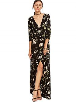 Milumia Women's Button Up Split Floral Print Flowy Party Maxi Dress Large Black-Green