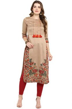 Janasya Indian Tunic Tops Poly Silk Kurti for Women (JNE2305-KR-533-M) Brown